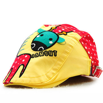 Kids Boys Girls Cotton Cartoon Cute Berets Hats Patch Flat Cap Casual Outdoor Visor Gorras