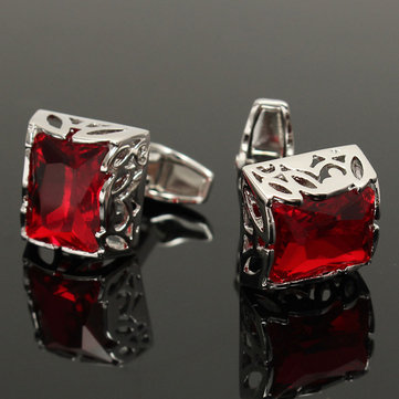 Men Square Red Crystal Cufflinks Wedding Party Gift Suit Shirt Silver Sleeve Nail