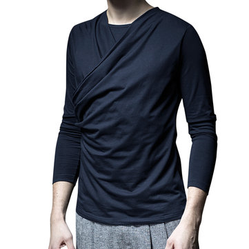 Mens Cotton Casual Knitted Long Sleeve T-shirts