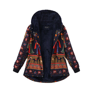 O-NEWE Plus Size Women Printing Hood Thick Warm Coats