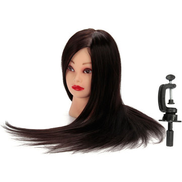 50% Black Real Human Hair Training Head Hairdressing Cutting Practice Mannequin Model Clamp Holder