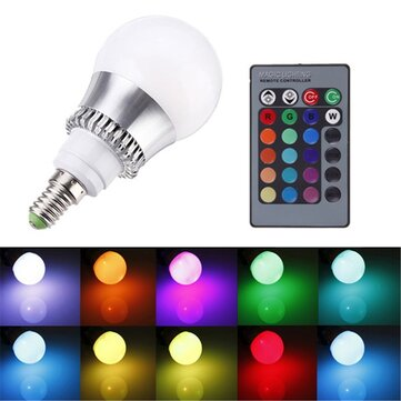 RGB E14 5W LED Bulb Color-Changing Globe Light Lamp + Remote Control AC 85-265V