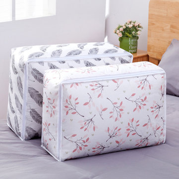 Quilt Storage Bag Feather Shape Clothes Quilt Pillow Blanket Storage Baskets Bag Organizer