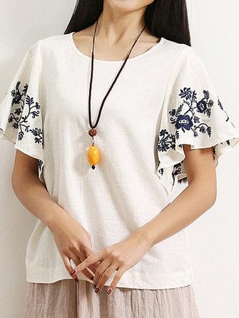 ฤดูร้อนลำลองผู้หญิงแขนสั้น O-Neck Embroidered เสื้อยืด