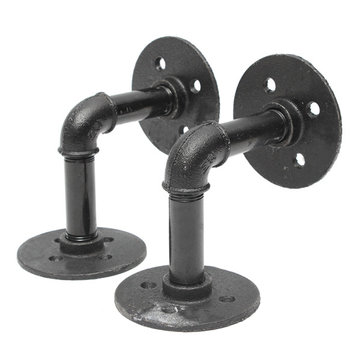 2pcs 3/4 Inch Iron Pipe Shelf Bracket Industrial Pipe Scaffold Board Shelf Brackets