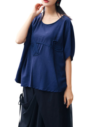 Plus Size Loose Batwing Sleeve Shirt Vintage Half Sleeve Summer Tops