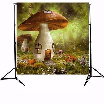 10x10ft Sunshine Forest Mushroom House Photography Backdrop Studio Prop Background