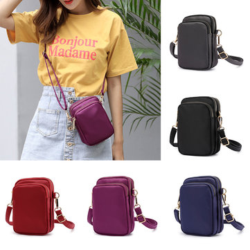 Women Waterproof Phone Bag Nylon Waist Bag Crossbody Bag