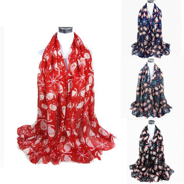 Women Ladies Christmas Santa Claus Snowflake Pattern Scarf Shawl Stole Wraps Pashmina