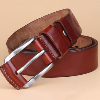 Men Retro Solid Business Leather Belt Waistband Casual Pin Buckle Belt