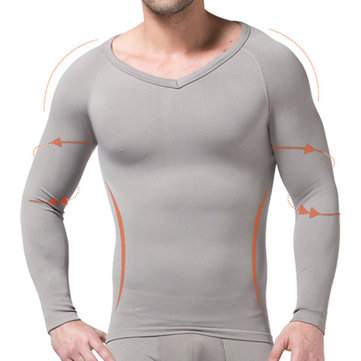 Mens Corset Seamless Warm V-neck Long Sleeve Tight Body Shapewear Tops