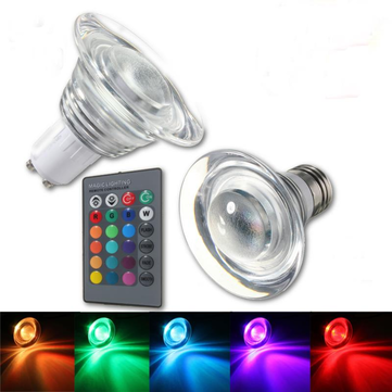 E27/GU10 4W Color Changeing RGB LED Magic Bulb Lamp Spotlightt Remote 85-265V