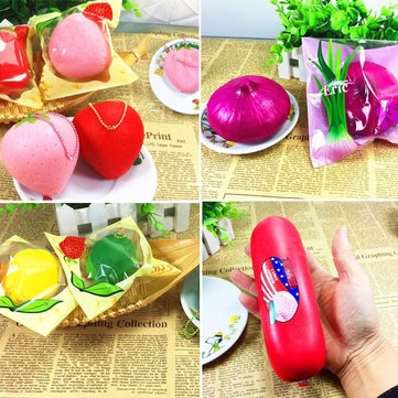 4PCS Eric Squishy Lemon Strawberry Sausage Onion Slow Rising Original Packaging Collection Gift