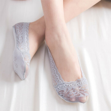 Women Summer Breathable Lace Silicone Sole Anti-slip Invisible Socks Thin Comfortable Boat Sock