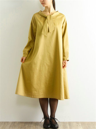 Plus Size Casual Long Sleeve Solid Color Cotton Dress