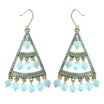 JASSY® Bohemian 18K Gold Plated Sky Blue Opal Earring Luxury Fine Jewelry Clothing Accessories
