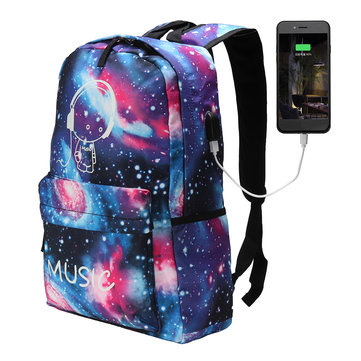 Outdoor Night Luminous Backpack USB Oxford School Bag Shoulder Bag Waterproof Handbag