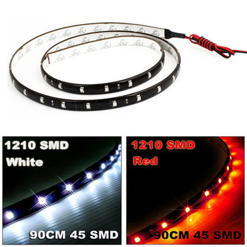 90cm 3528 45LED Car Trucks Grill Flexible Strip Light DC 12V Waterproof