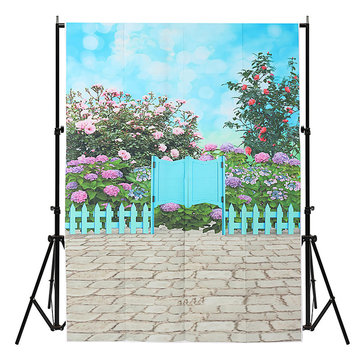 3x5ft Vinyl Wall Floor Flower Blue Sky Photography Background Studio Photo Props Backdrop