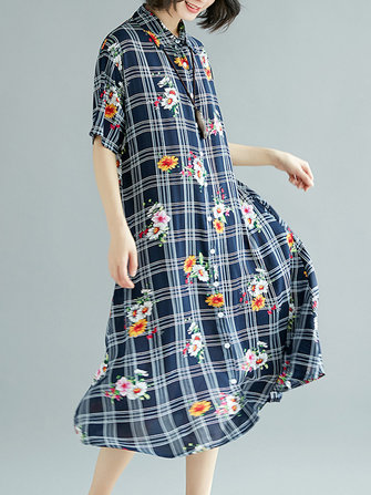 Cotton Floral Print Short Sleeve Vintage Plaid Shirt Dress