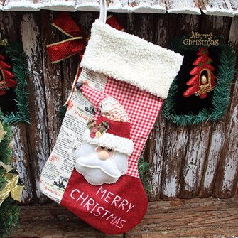 Christmas Gift Socks Bags Santa Claus Snowman Pattern Fabric Hanging Stockings Tree Decoration