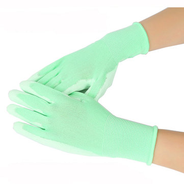 Gardening Protective PU Gloves 1 Pair Soft Antiskid Breathable Green Glove for Watering Housekeeping