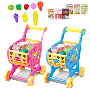 Mini Emulational Supermarket Plastic Cart Model Funny Trolley Cart Children Supermarket Cart Toys