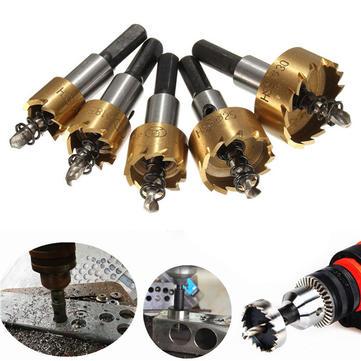 Drillpro 5pcs HSS 6542 Titanium Coated Hole Sawtooth HSS Hole Saw Cutter Drill Bit Set 16/18.5/20/25/30mm