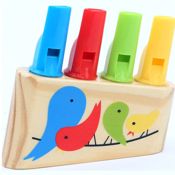 Rainbow Panpipe Wooden Toy Birds Whistling Musical Eduactional Kids Gift