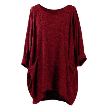 Women Long Sleeve Casual Baggy Asymmetrical Pullover Blouse
