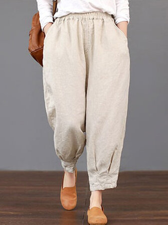 Women Solid Color Elastic Waist Loose Cotton Pants