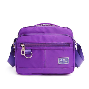 Women Light Weight Nylon Multi Zipper Waterproof Handbags Outdooors Shoulderbags Crossbody Bags