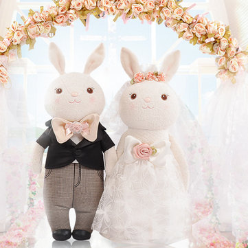Metoo 1 Pair 2pcs Wedding Rabbit Doll 19*38CM Soft Stuffed Toys For Lovers Cute Sweet Cartoon