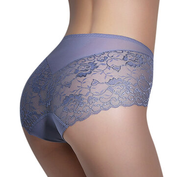 Women Sexy Lace Super Elastic Transparent Breathable Mid Waist Panties