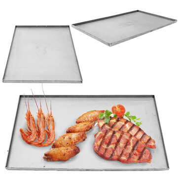 Outdoor Camping Picnic Double Stainless Steel Griddle Flat Top Plancha Pan Comal Cooking Stove