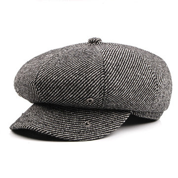 Mens Solid Wool Tweed Gatsby Newsboy Hunting Hat