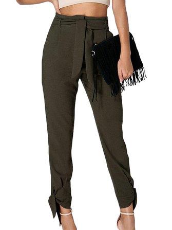 Women High Drawstring Waist Long Pants