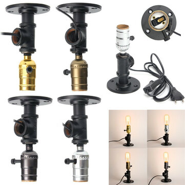 E27 Retro Industrial Vintage Edison Bedside Desk Light Socket Table Reading Lamp Holder With Adapter