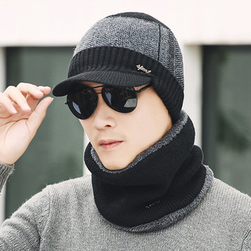 Men Warm Knitted Hooded Neck Beanie Cap Set