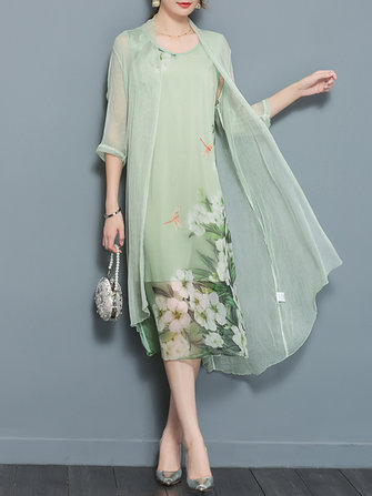 Chinese Style Silk Floral Print Two Pieces Set Vintage Dresses