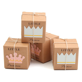 12PCS Crown Rustic Kraft Candy Box Burlap Jute Chic Square Wedding Favor Party Gift Supplies