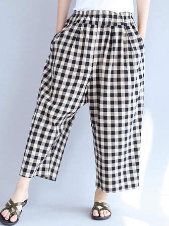 S-4XL Women Plaid Elastic Waist Loose Cotton Long Pants