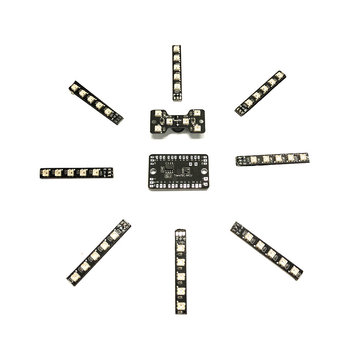 8 Pcs 5 LED Strip Light MUC Controller Board & Tail LED Light with Loud Buzzer for RC Drone