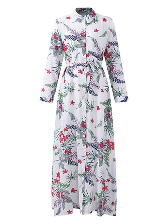 Bohemian Women Printed Long Sleeve Button Down Split Front Dress