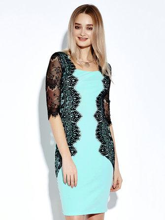 Women Lace Crochet Patchwork Sheath Blue Pencil Dress