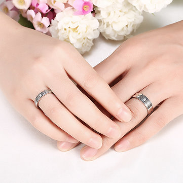 Simple Stripe Zircon Silver Stainless Steel Women Men Couple Lover Gift Finger Ring