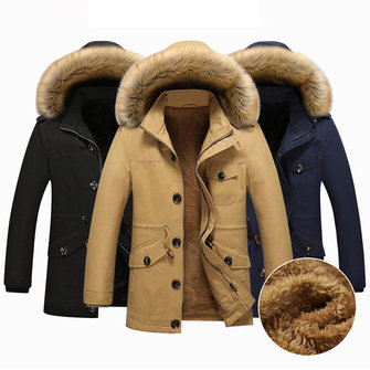 Winter Fleece Thick Warm Furry Hood Slim Men Outdoor Parkas