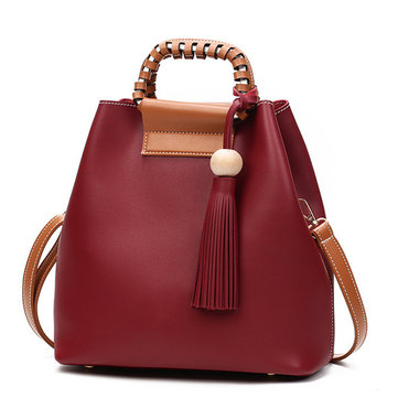 Women PU Tassel Bucket Bags Casual Shoulder Bags Large Capacity Crossbody Bags Shopping Tote