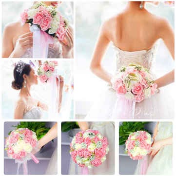 Handmade Rose Flower Artificial Flowers Bridal Wedding Bouquet Brooch Crystal Pearls Flowers