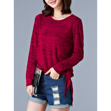 Women Solid Knit Contrast Tops Long Sleeve Autumn Casual T-shirts